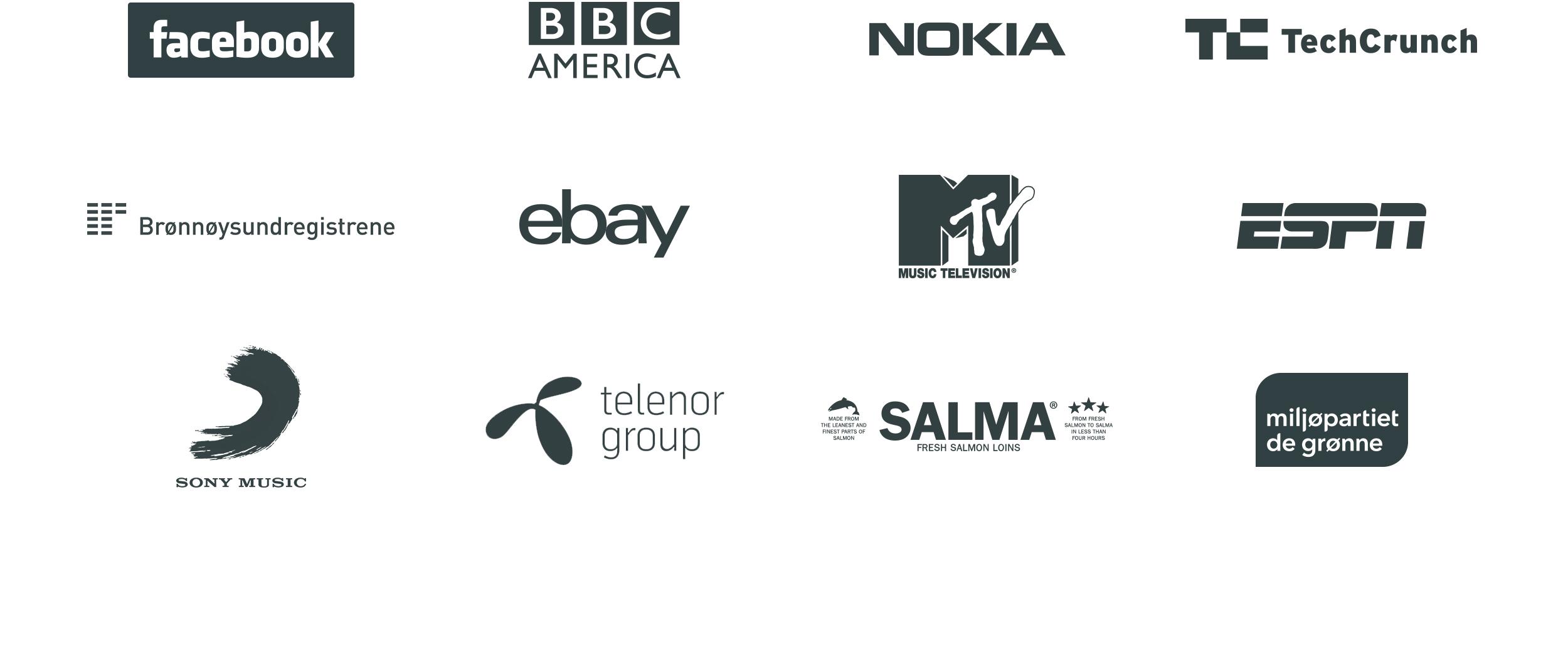 Logoer til selskaper som bruker wordpress. Facebook, BBC, Nokia, Techcrunch, Brønnøysundregistrene, e-bay, MTV, ESPN, Sony Music, Telenor group, Salma, Miljøpartiet de grønne