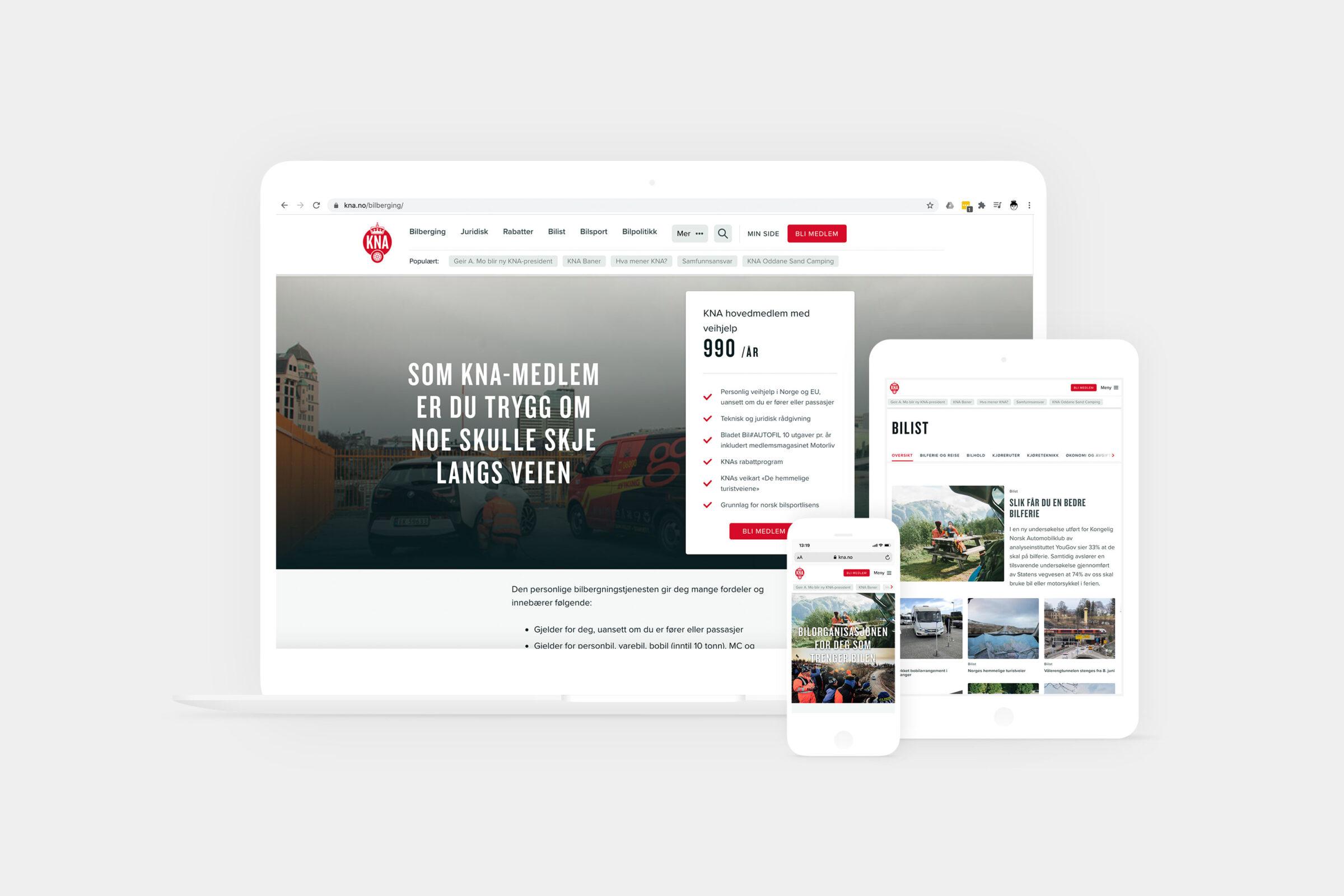 Ulike skjermer viser ulike sider fra KNA sin nettside