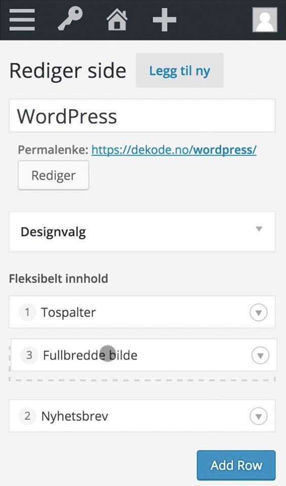 Mobil skjermbilde av WordPress