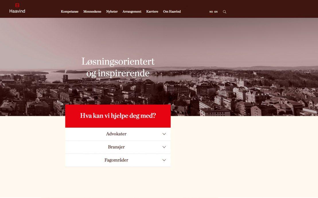 Desktop skjermbilde av Advokatfirmaet Haavind