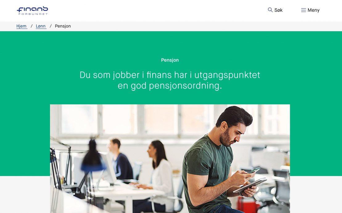 Desktop skjermbilde av Finansforbundet