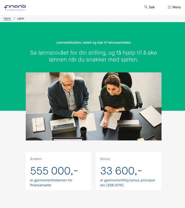 Nettbrett skjermbilde av Finansforbundet
