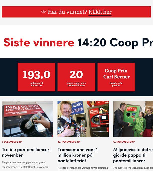 Nettbrett skjermbilde av Olav Thon Gruppen og Pantelotteriet