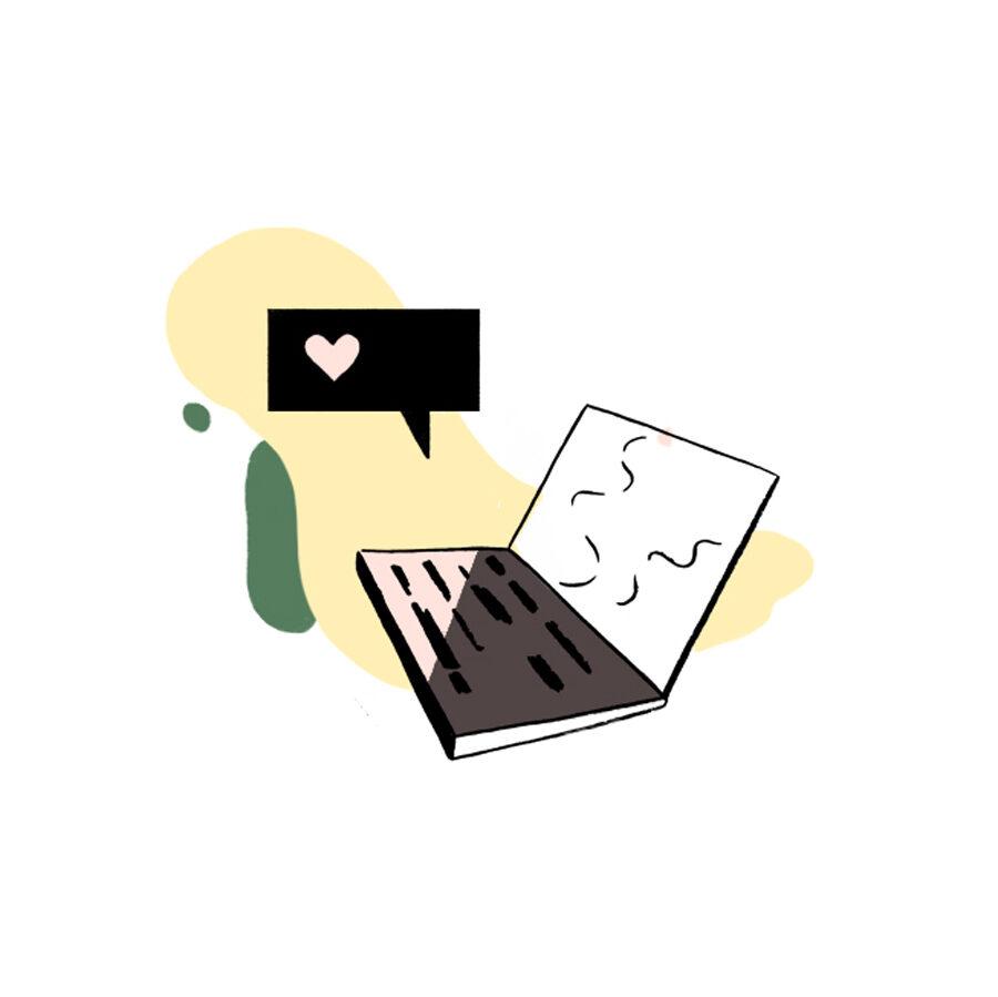 Illustrasjon mac med snakkeboble over