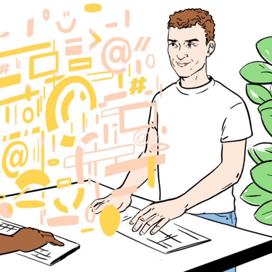 Illustrasjon av gutt som koder