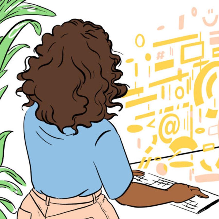Illsutrasjon av jente som koder