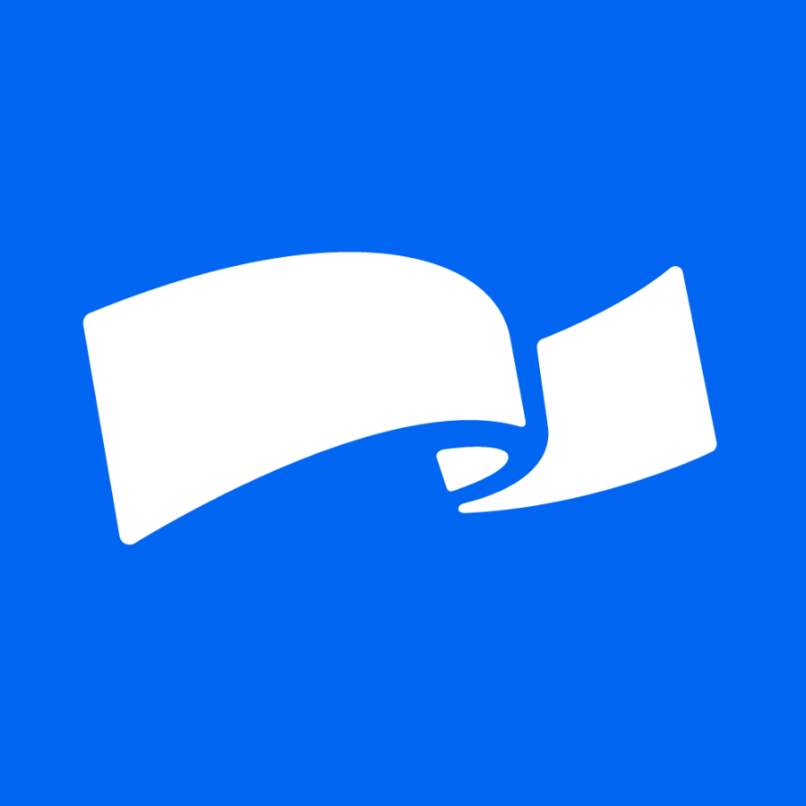 Logo til Høyre - blå bakgrunn med hvit sløyfe på