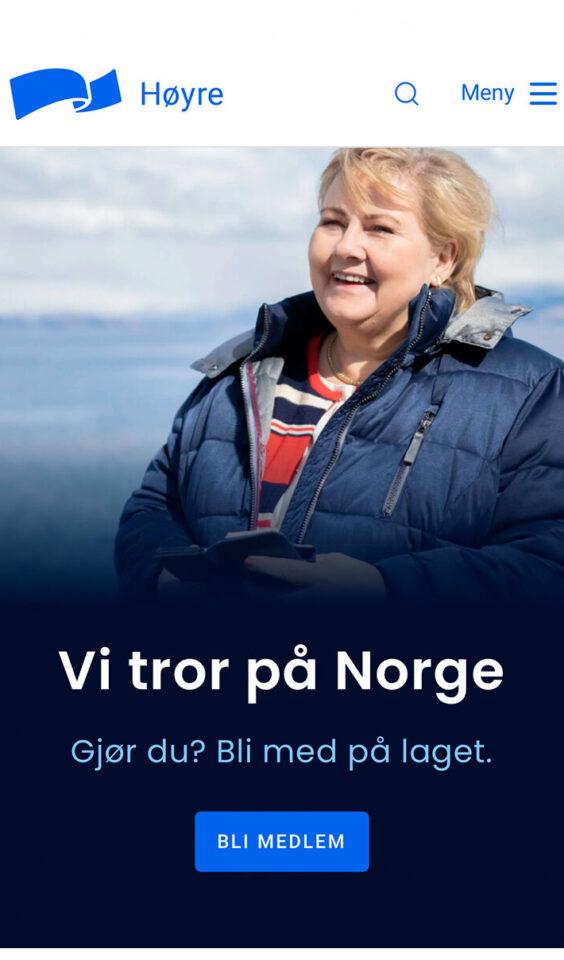 Mobil skjermbilde av Høyre.no