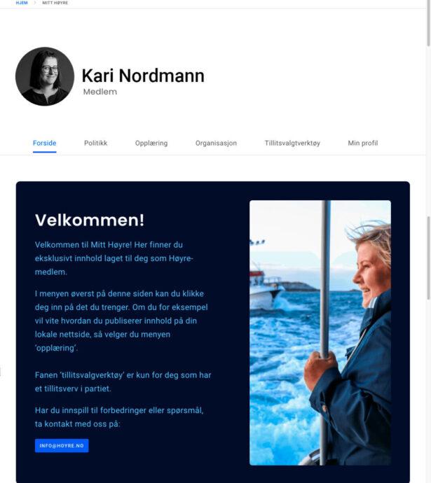 Nettbrett skjermbilde av Høyre.no
