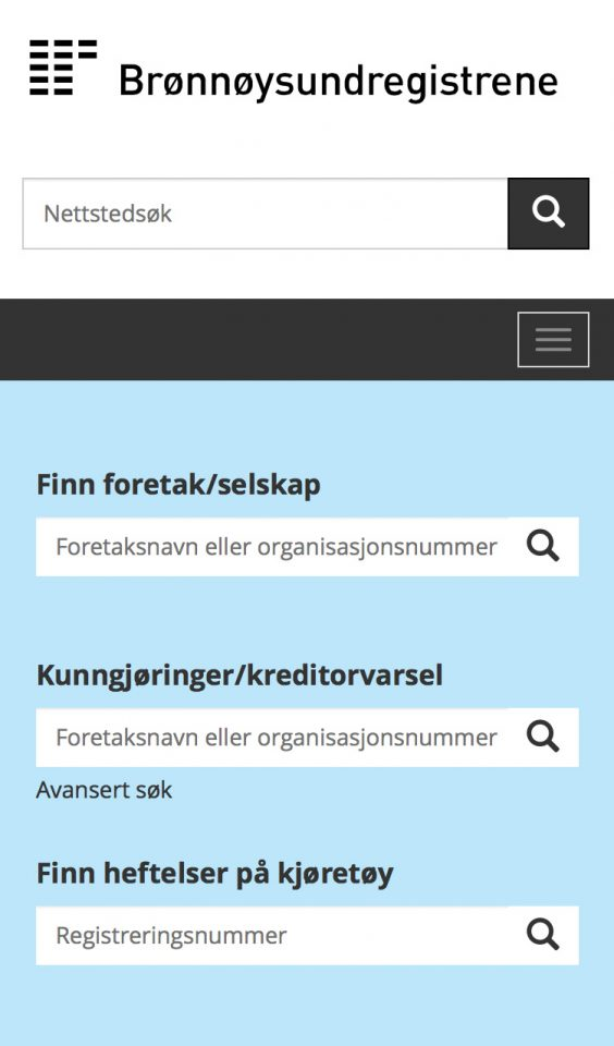 Mobile screenshot of Brønnøysundregisteret