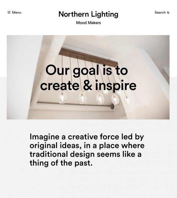 Tablet screenshot of Northern Lighting