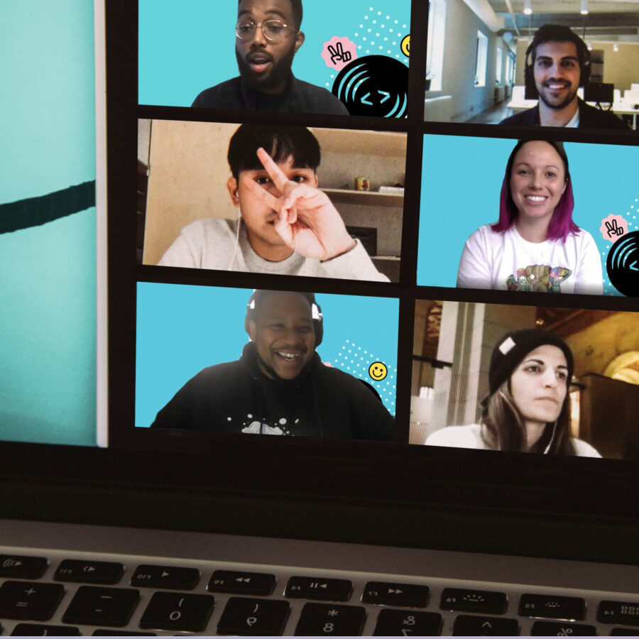 A screen shot of a screen that shows youth in a meeting