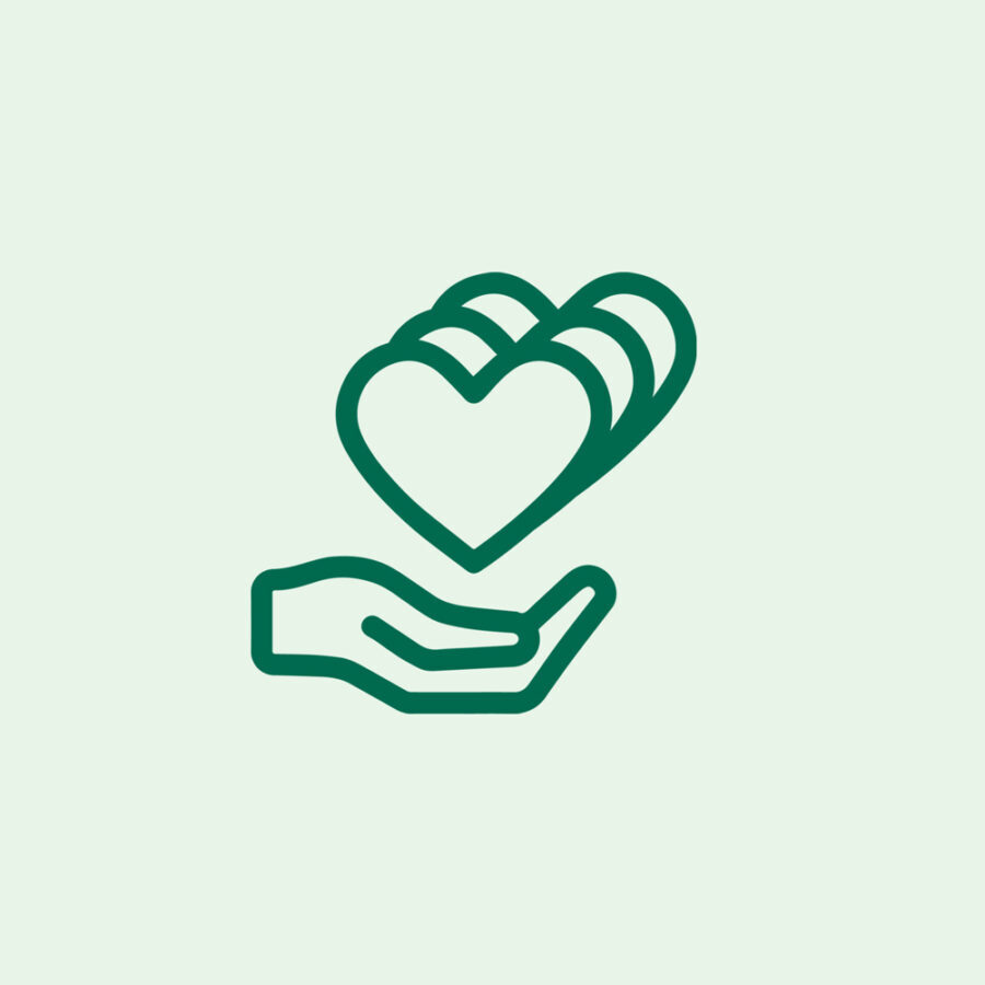 Icon of hand holding hearts