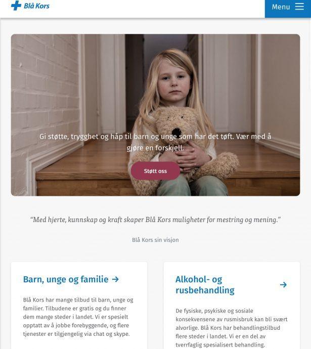 Tablet screenshot of Blue Cross Norway