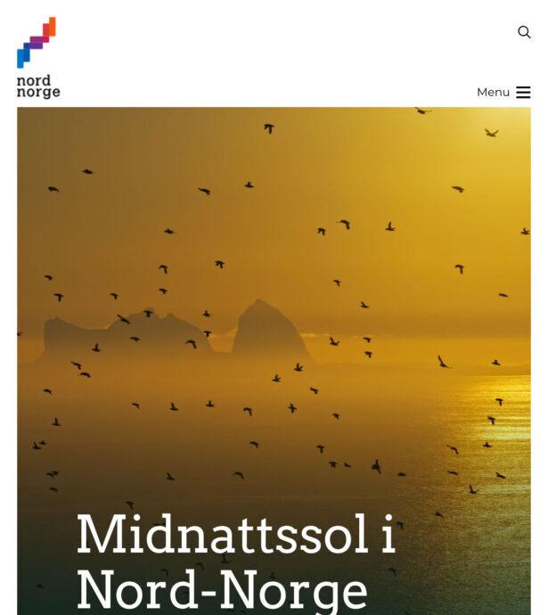 Tablet screenshot of NordNorsk Reiseliv (Visit Northern Norway)