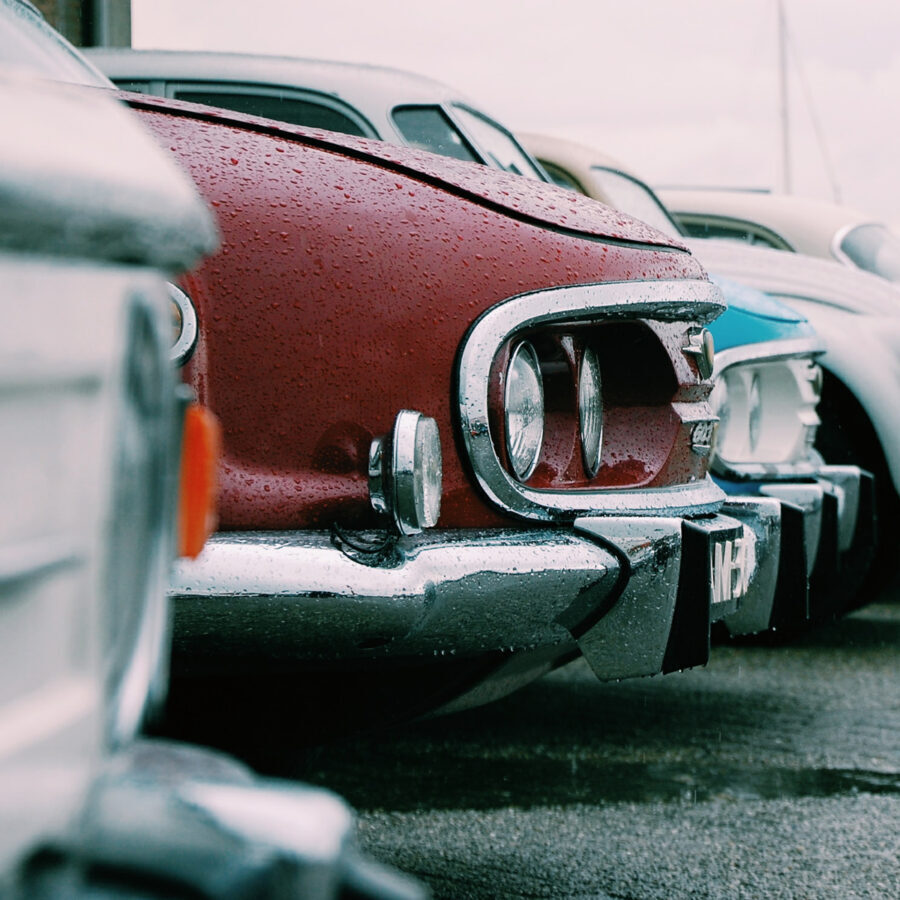 Image of veteran cars in a row