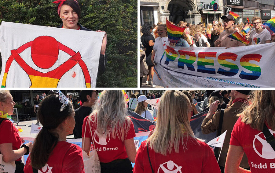Image collage of Save the Children-volunteers at the Pride Parade