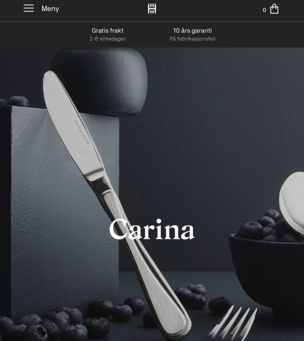 Tablet screenshot of Hardanger Cutlery