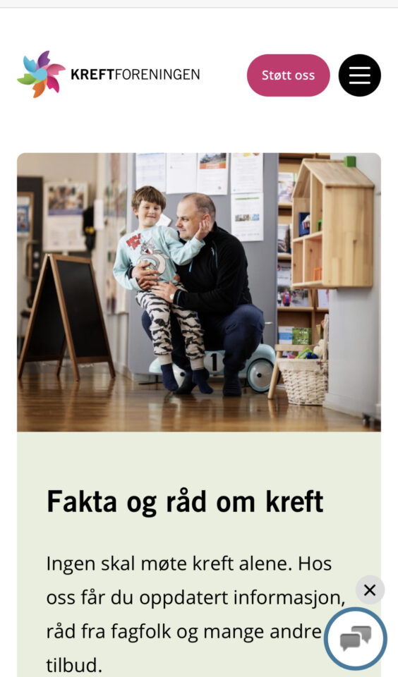 Mobile screenshot of The Norwegian Cancer Society