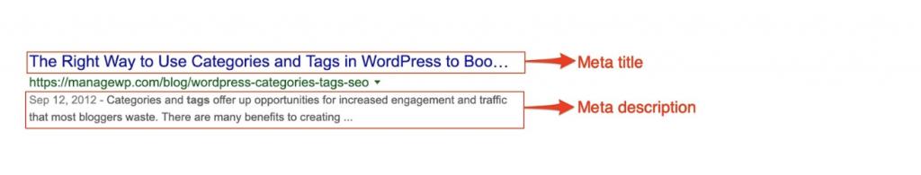 Bilde av hvordan metadata bør se ut i Google med tittel, stikkord og beskrivelse.