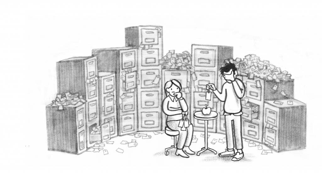 Illustrasjon av et rotete arkiv fult av lapper med stikkord.