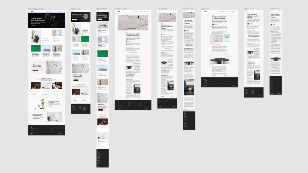 Dekodes eget designsystem for nettsider, Teft. Basert på Gutenberg og WordPress.