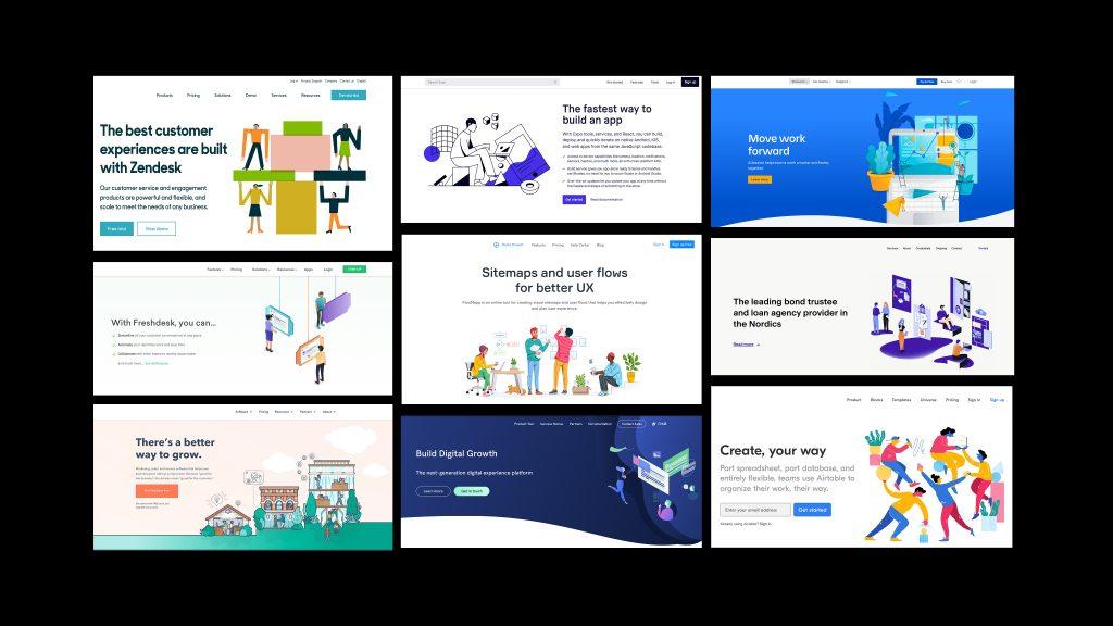 Eksempel på en rekke nettsider som prøver å skape sin egen unike identitet, men som allikevel fremstår som svært like.