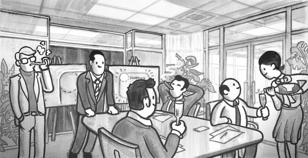 illustrasjon, inspirert av Mad Men, som viser menn som koser seg med dyr champagne og sigarer og gladelig bruker masse penger.