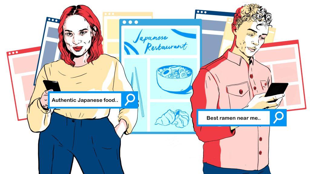 illustrasjon av en mann og en dame som søker på sine mobiler (SEO)