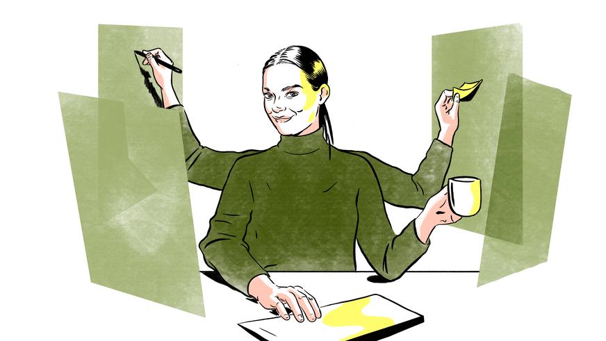 illustrasjon av en dame som arbeider på mange skjermer samtidig