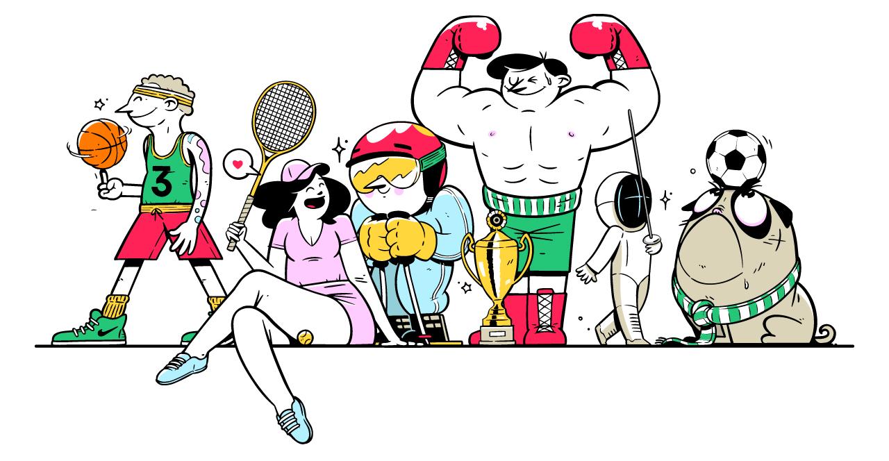 Illustrasjon av folk innen idrett - nijse er en god plattform for lag og idrettsforbund