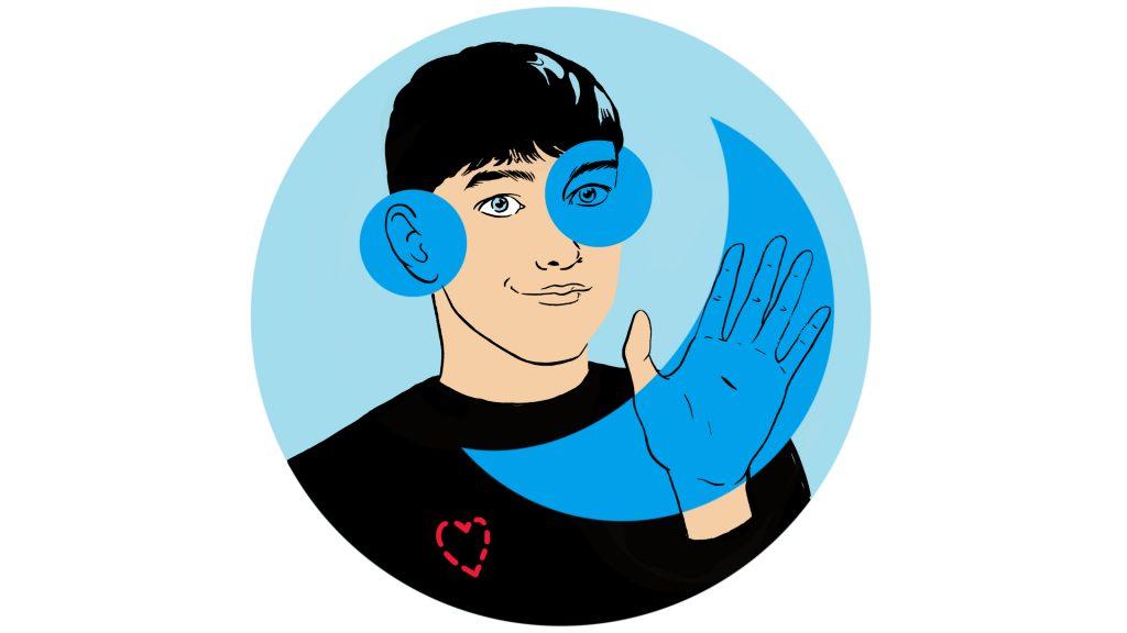 Illustrasjon av universell utforming symbolsert ved at en mann har markerte områder for  hånd, øyne og ører.
