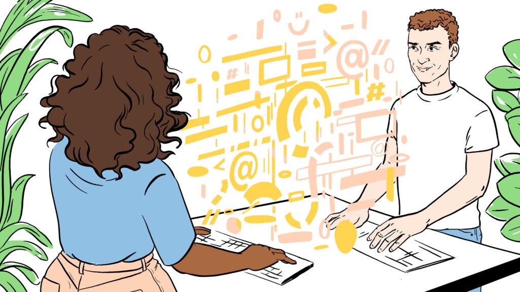 En kvinne og en mann jobber med å lage kode.
