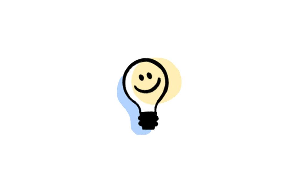 Illustrasjon: en smilende lyspære - en god ide!