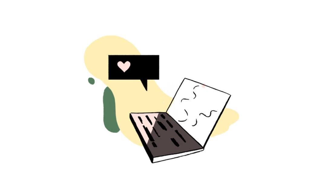 Illustrasjon mac med snakkeboble med hjerte i over