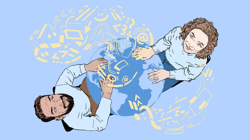 illustrasjon: to uvtiklere (en kvinne og en mann) sitter på hver sin side av en jordklode og jobber