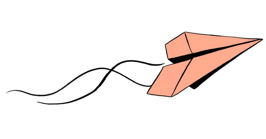 Illustrasjon av papirfly