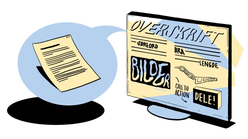illustrasjon av et ark med tekst (skisse) som blir til tekst og bilder på skjermen