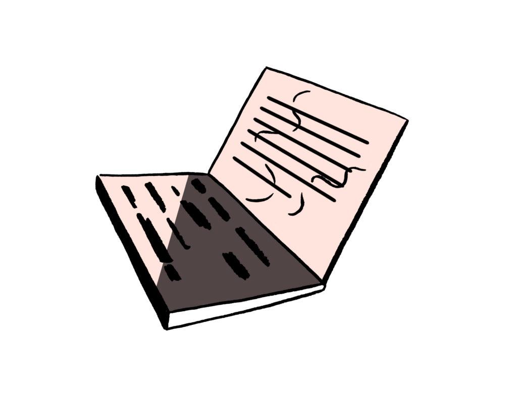 Illustrasjon av en mac/pc som noen jobber med å skrive tekst på.