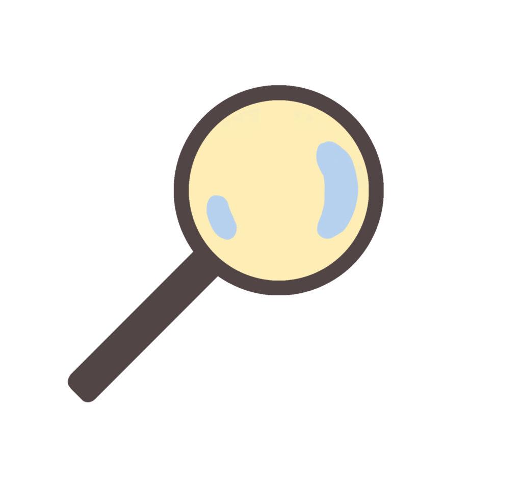 Illustrasjon av et forstørrelsesglass, symbol på søk funksjon