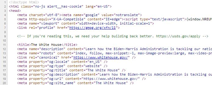 Bilde av Html-koden der det står en hemmelig beskjed