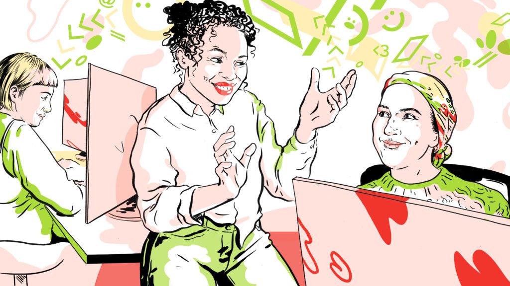 Illustrasjon av kvinner som jobber med data og rådgivning i dekode. Kvinner sitter fornn dataskjermer og de diskuterer.