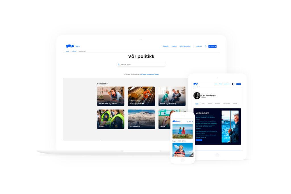 Mock up av Høyre sine nettsider på en mac, en ipad og en iPhone mot hvit bakgrunn.