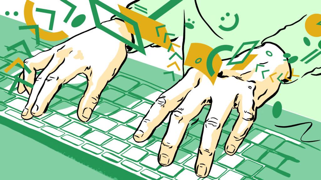 Illustrasjon av hender på tastatur som minner om hender på pianotangenter